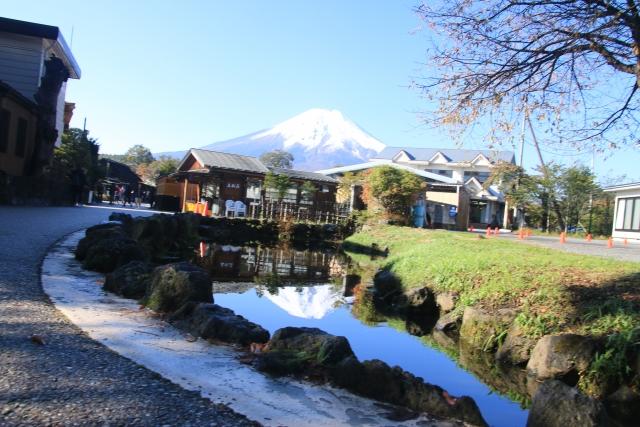 忍野八海 鏡池 逆さ富士