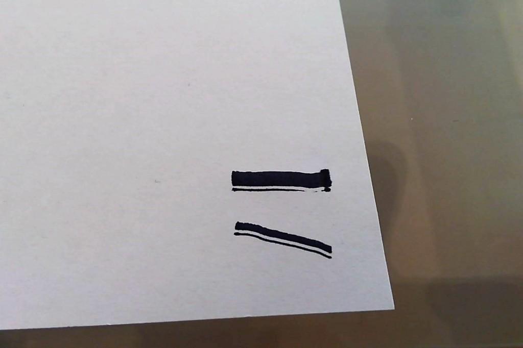 ダイソー カリグラフィーマーカー 先割れフラット芯 試し書き